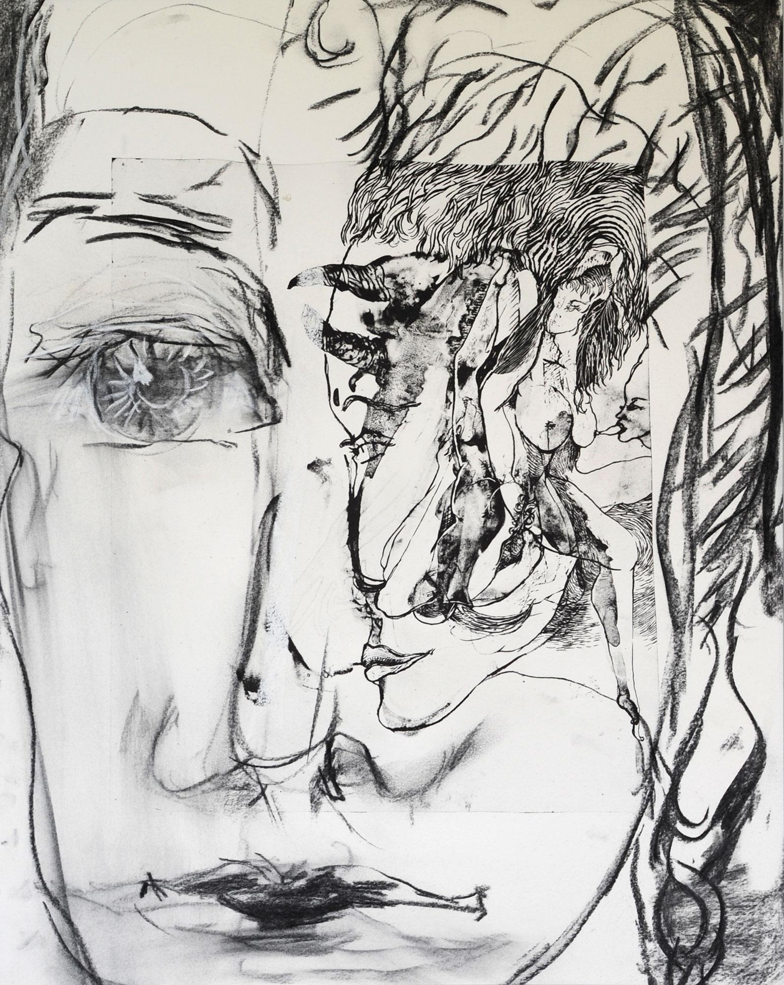 Barbara Thaden Autoportrait, Fusain sur papier